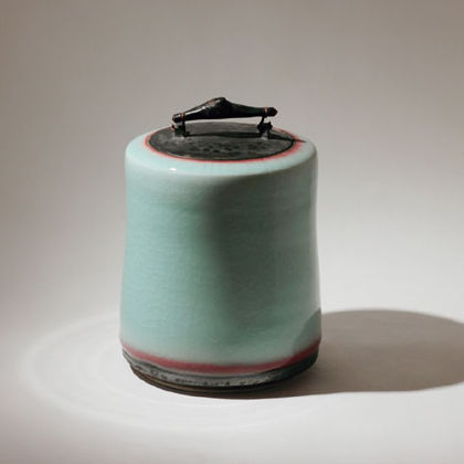 Lidded Chun, Porcelain with ebonised oak  h.23cm