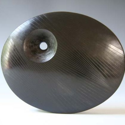 Large Incised Dark Oval, Stoneware  16 x 19 cm