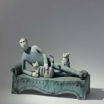 Potrait of a Man with Cats, High Fired Earthenware 31 x 23 x 10cm