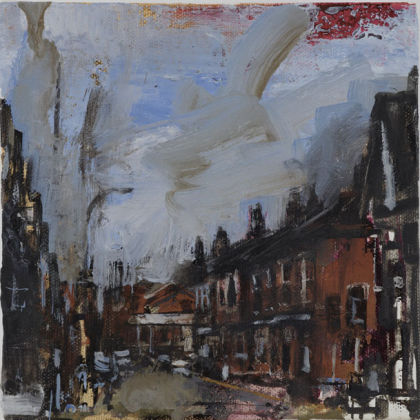 Melbourne Rd, Oil on canvas 15.5 x 15.5 cm