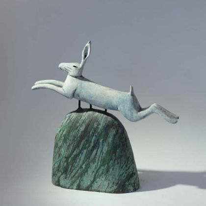 Leaping Hare on a Hill, High Fired Earthenware 32 x 32 x 8cm