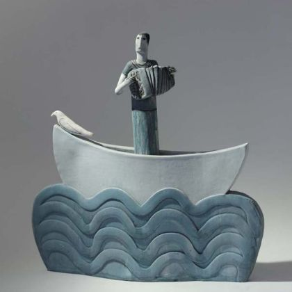 Musician in a Boat with Bird, High Fired Earthenware 33 x 33 x 7cm