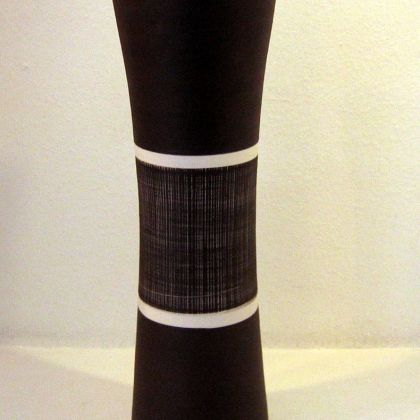 20. Black vase with white stripes and sgrafitto lines, Porcelain h: 45cm