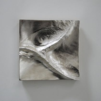 Shadow Form 10, 6ct White gold leaf on carved wood 40cm²
