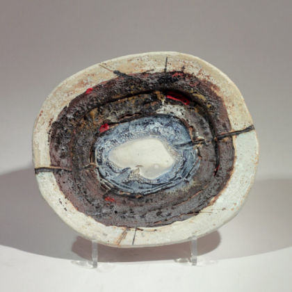 Plate with Blue Centre, Stoneware 24 x 22 cm