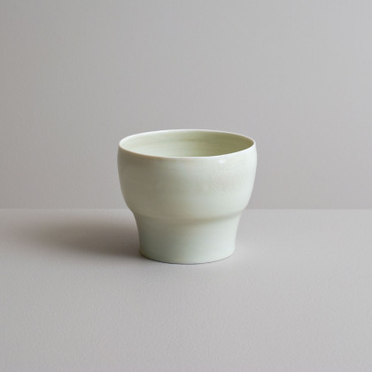 Olen Hsu Translucent Tea bowl in Celadon Glaze Porcelain 9 x11 cm.