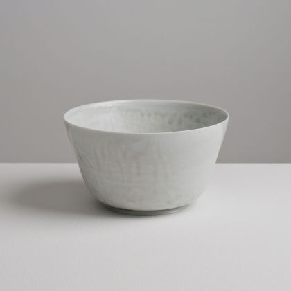 Olen Hsu Translucent Upright Bowl in Pale Blue-Grey Ash Glaze Porcelain Porcelain 16 x 9 cm.
