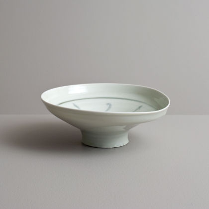 Olen Hsu Wavering High Footed Bowl in Celadon with Cobalt Underglaze Porcelain 7 x 18 cm.