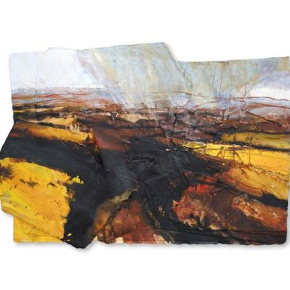 David Tress, Buttercup Fields, Teesdale, Mixed Media on Paper 47 x 70 cm.