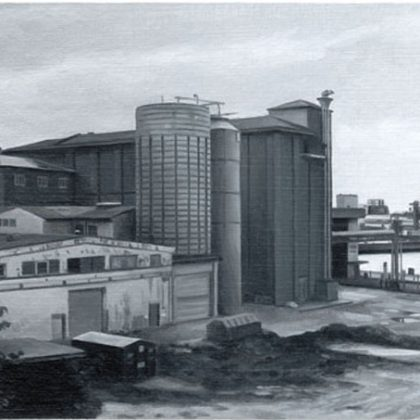 Nicholas Middleton Grain Store, Oil on Paper on Card 10 x 15cm