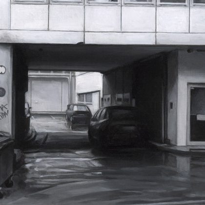 Nicholas Middleton Internal Courtyard with Parking, Oil on paper 10 x15 cm