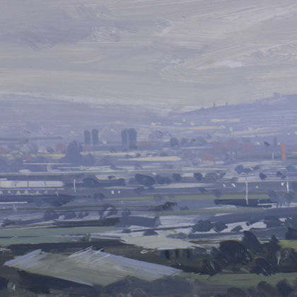 Tom Hughes Light Rain Over the City from Troopers Hill, Oil on Panel 31 x 13 cm