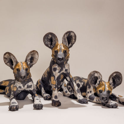 Nick Mackman Wild Dog Pup group (from left 1,2,3) Low-fired ceramic l. 35-55 x h. 17-35 cm