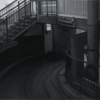 Nicholas Middleton Pedestrian and Vehicle Entrances, Oil on Paper on Card 10 x 15 cm