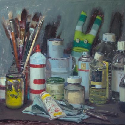 Tom Hughes Studio Stuff with Green Striped Sock Monster, Oil on Board 31 x 40 cm