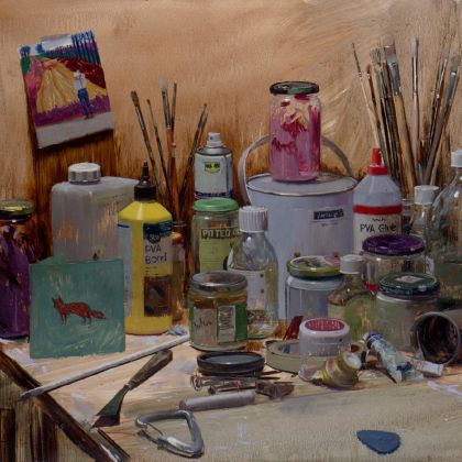 Tom Hughes Jars and Brushes with Portrait of David Working, Oil on Board 61 x 78 cm