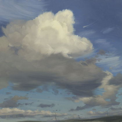 Tom Hughes Cloud Forms I, Oil on board 25 x 25 cm.