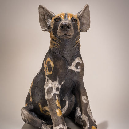 Nick Mackman Wild Dog Pup Looking Up, Low-fired ceramic h39 x 30 x 22 cm.