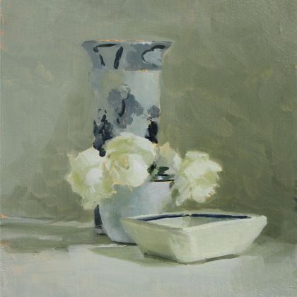 Helen Simmonds Christina and Richard's Bowls and Rose, Oil on board 20 x 16 cm.