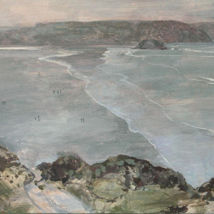 Ruth Stage Cornish Headland View, Egg tempera on gesso board 100x120