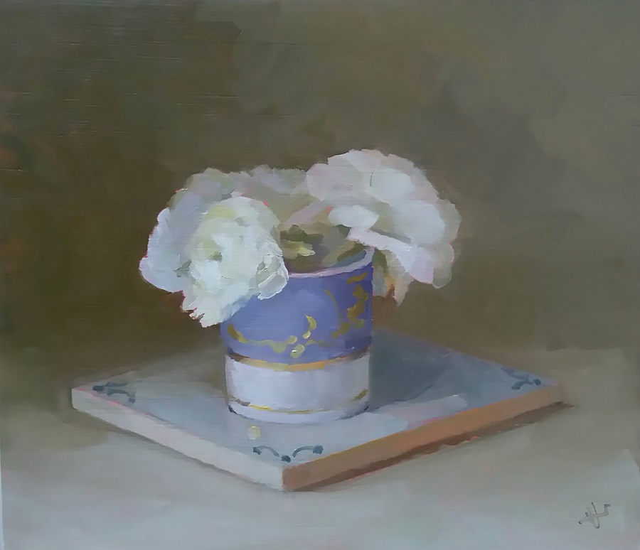 Beaux arts bath helen simmonds purple and white cup with white flowers oil on board 185 x 21 cm mightylinksfo