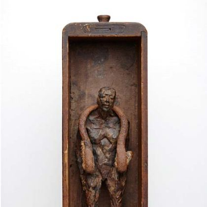 Anna Gillespie Shackle, Unique Bronze, Found Steel, Wood 38 x 11 x 11 (Wall hanging or free standing)