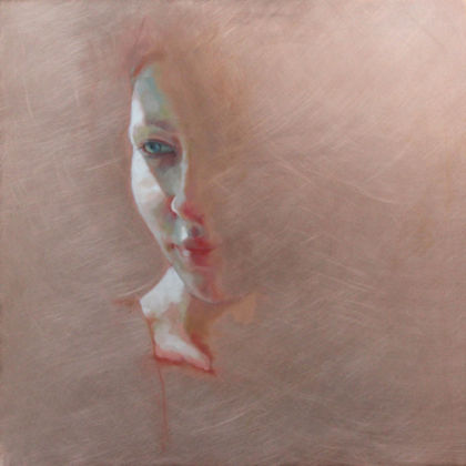 Jennifer Anderson Witness, Oil on copper 30 x 30 cm.