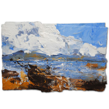 David Tress Clouds Rising Above Hecla, Beinn Mhor (South Uist), Mixed media on paper 32 x 48 cm.