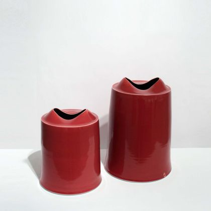 Tanya Gomez Small Tall Red/Orange Porcelain h 22 x Base Diameter 18 cm. Medium Tall Red/Orange Porcelain 30 x 21 cm.