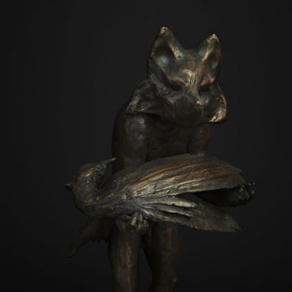 Fox and Pheasant, Bronze Ed. 15  50 x 27 x 25 cm
