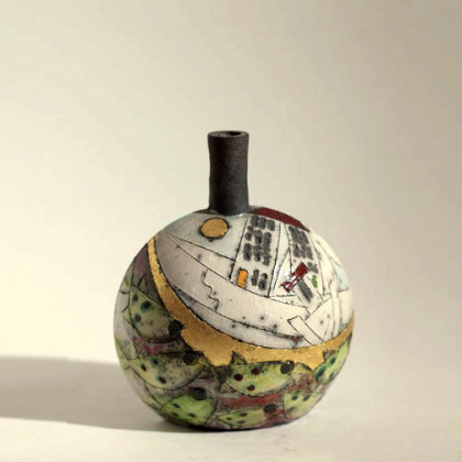 19. Small round fish & gold bottle, Raku-fired Ceramic h. 13 x 11 cm