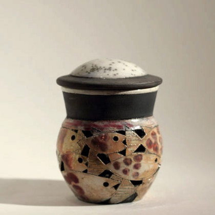 6. Small lidded pierced fish pot, Raku-fired Ceramic h.12 x 9 cm