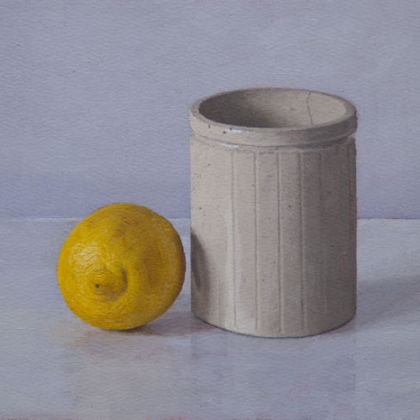 Pot with Lemon, Oil on paper  24.5 x 17.5 cm