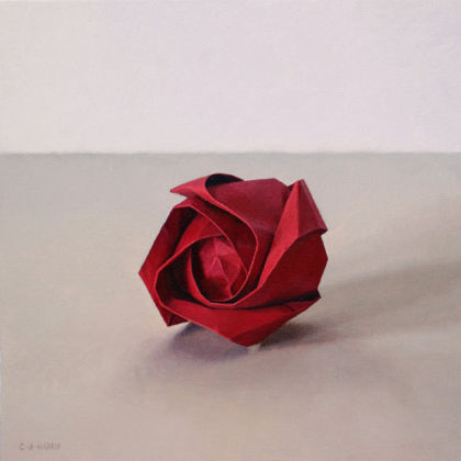 Red Paper Rose, Oil on board  23 x 23cm