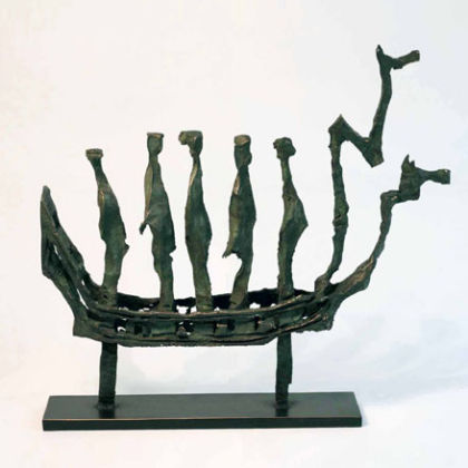 River Spirit Boat, Bronze Unique  47 x 52 x 10cm
