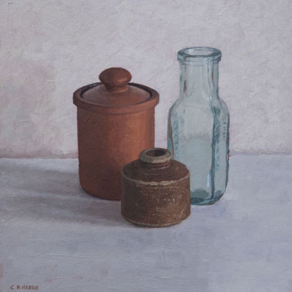 Small Pot Group, Oil on Board  21 x 22cm