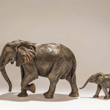 Follow Me, Bronze Edition of 9  Mother h. 28 x l. 42 x w. 10 cm. Calf h. 13 x l. 23 x w. 5 cm