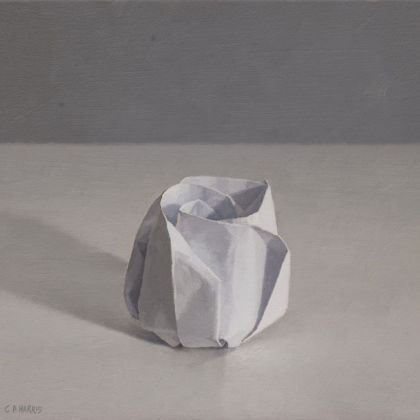 White Paper Rose, Oil on board  22 x 21cm
