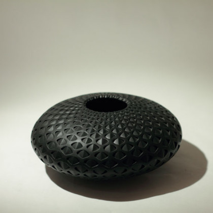 17. Black Open Eye Vessel, coiled and carved clay 18cm dia.