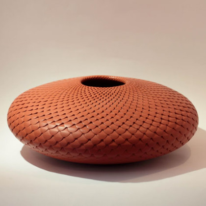 29a. Large Red Cog Bowl, coiled and carved clay 40cm dia.