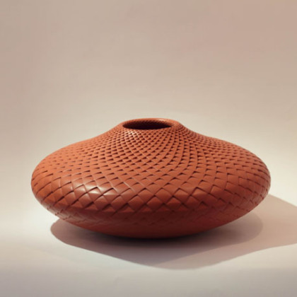 2a. Large Red Pinecone Bowl, coiled and carved clay 40cm dia.