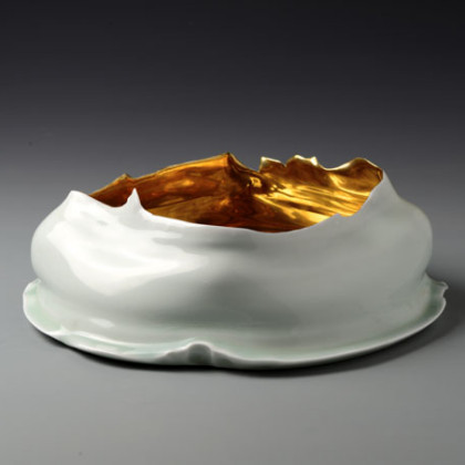 Bowl, Gold Interior, Yingqin Glaze with Gold, Ø 33 x ht. 11 cm