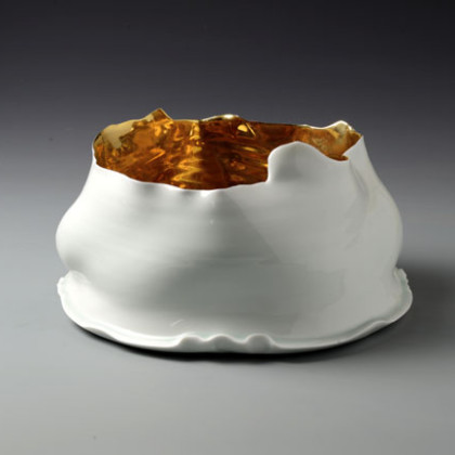 Bowl, Gold Interior, Yingqin Glaze with Gold, Ø 33 x ht. 9.5 cm