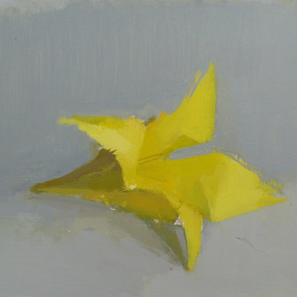 Paper Flower, Oil on Board 18 x 21 cm