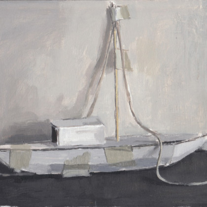 White Boat, Oil on board 23 x 19 cm
