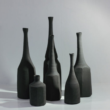 Black Bottles, Reduction Fired Stoneware h. 13 - 35 cm