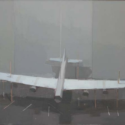 Hangar, Oil on Board 92 x 62 cm
