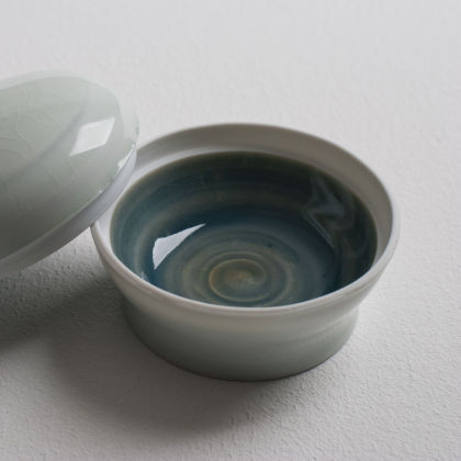 Olen Hsu Small Lidded Box Cobalt and Celadon with Cobalt Underglaze Banding Porcelain 8 x 5 cm.
