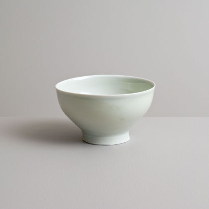 Olen Hsu Small Footed Bowl in Celadon with Cobalt Underglaze Banding Porcelain 8 x14 cm.