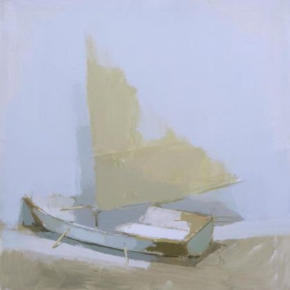 Simon Wright White Boat, Oil on Board 61 x 61 cm